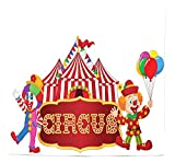 BAOQIN 60*80 Inches Unique Design Wonderful Prints Circus Tapestry, Circus Tent with Clown Advertisement Event Man Billboard Waving Classical Design, Fabric Wall Hanging Decor for Bedroom Living Room
