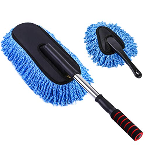 YOUNICER 2 car duster brush cleaning kit microfiber parts with long extendable handle for car and home
