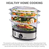 from Sensio Home Sensio Home Stainless Steel 3 Tier Vegetable Steamer for Cooking with Timer - Large Capacity Electric Food, Meat & Vegetable Steam Machine Multi Cooker - Stackable Baskets & Timer - Makes Healthy, Fresh Meals, Rice, Meat, Eggs, Veg & Puddings