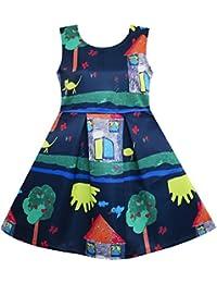 Sunny Fashion Robe Fille Arbre Maison Cat Papillon Oiseau Fleur Imprimer