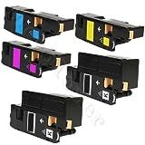 5er Pack - XXL Toner Kompatibel zu Epson Aculaser C 1700 C1700 C 1750N C1750 C1750W CX17 CX 17 CX17NF CX17WF CX 17WF C13S050614 C13S050613 C13S050612 C13S050611 (2.000 Seiten Schwarz Je farbe 1.400 Seiten C/Y/M)