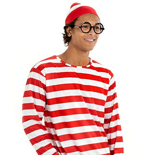 Waldo Junge Kostüm Where's - Hauntlook Halloween-Kostüm Where's Wally für Herren, Cosplay-Outfit - Mehrfarbig - Large
