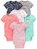 Simple Joys by Carter's Baby Fille Lot de 6 bodies à manches courtes ,Pink/Mint,6-9 Months