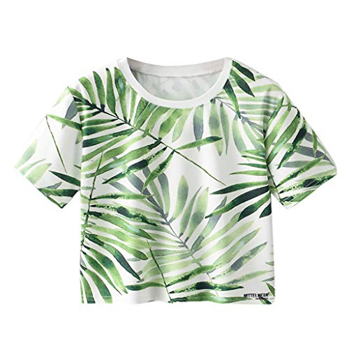 Tops Damen Sommer Tumblr | Bauchfreie T-Shirts Teenager MäDchen Bunt | Subfamily Rundhalsausschnitt Kurzarm Oberteile Kurz Nabel Tunika Party Sexy Blusen Frauen Freizeithemd (M, Grün) -
