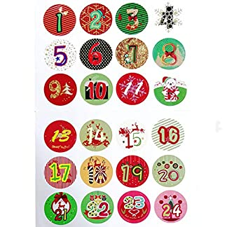 Sinwind – 24 Etiquetas Brillantes para Navidad, Calendario de Adviento, número de Pegatinas, Colores Vintage, Etiquetas para Regalos, Hornear, decoración, Navidad, artesanía, Navidad, números