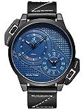 Alienwork Herren-Armbanduhr Quarz schwarz mit Lederarmband blau XXL Oversized