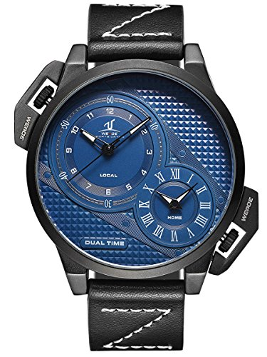 Alienwork Armbanduhr Herren Uhr Leder Armband Lederarmband Lederband schwarz Analog Quarz Herrenuhr blau Wasserdicht XXL Oversized