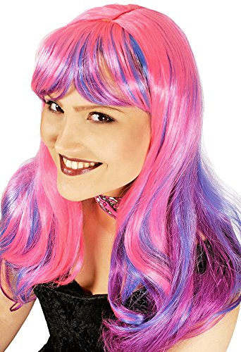 Langhaar Perücke Tara - Pink Lila - zu Cosplay und Anime Kostümen (Cheshire Cat Perücke)