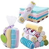 #4: Baby Wash Cloth - 8Pcs Cute Pattern Baby Infant Newborn Soft Bath Towel Washcloth Bathing Feeding Wipe Cloth Baby Bathing Skin Care (Size : 20 X 20 Cm) By KARP