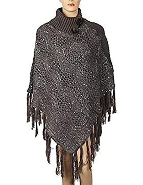 Pullover Punto Mujer Elegantes Primavera High Collar Anchas con Borlas Otoño Fashion Sweater Capa Invierno Vintage...