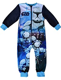 Boys Disney Star Wars Micro Fleece Onesie Pyjamas Sizes 2 to 8 Years