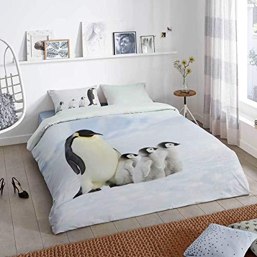 Traumschlaf Flanell Wendebettwäsche Pinguine 1 Bettbezug 135x200 cm + 1 Kissenbezug 80x80 cm