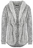 Sublevel Damen Fleece Cardigan mit Wasserfallkragen Dark-Grey S