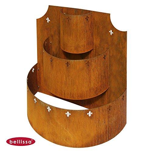 Bellissa® Corten Kräuterpyramide 60x60x30 cm Kräuterturm Hochbeet Treppe Deko