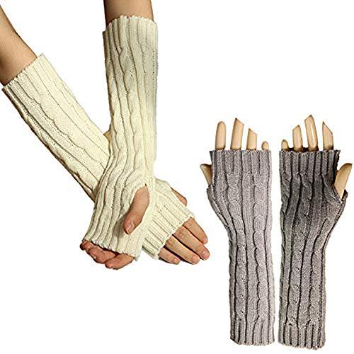 Scettar Damen Winter Halb Handschuhe, Wärmer Strick Kurzer Gestrickte Fingerlose Armstulpen Fäustlinge 2 Paar, M, White+grey