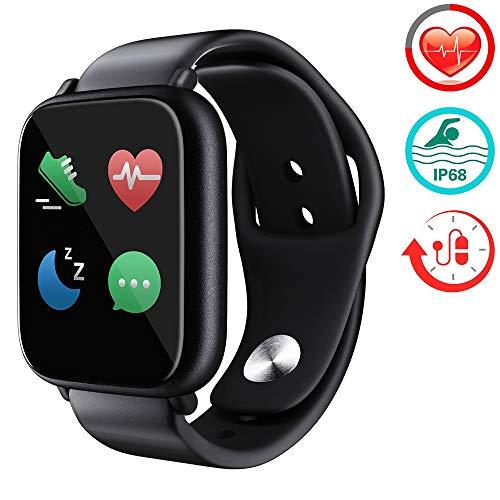 ZLI Smart Watch, Laufuhr Mit Herzfrequenz-Schlafkalorienmonitor Schrittzähler Sitzende Erinnerung Und Kamera-Fernbedienung Für Kinder, Frauen, Männer,SilicaGelblack