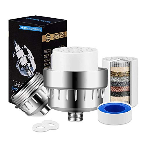 15-stufiger Duschfilter für hartes Wasser, 2 Ersatzkartuschen, Duschwasserfilter entfernt Chlor, Sedimente, Schwermetalle für jeden Duschkopf