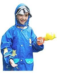 TRIWONDER Impermeable Rain Gear para Niñas, Niños, Kids Poncho Rain Jacket con Mochila para 3-12 Años de Edad (L (8-12 Años), Azul)