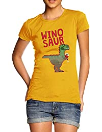 TWISTED ENVY Winosaur Funny Wine Dinosaur Women's Funny 100% Cotton T-Shirt, Crew Neck, Comfortable and Soft Classic Tee with Unique Design