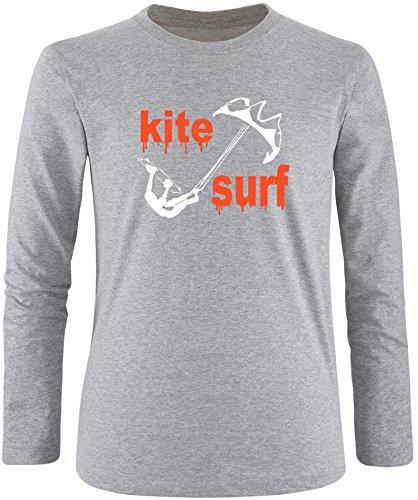 EZYshirt® Kite Surf Herren Longsleeve Grau/Weiss/Orange