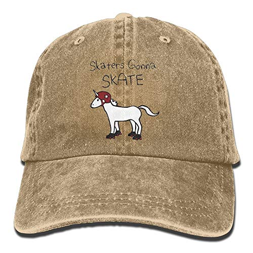 Hoswee Unisex Kappe/Baseballkappe, Vintage Adult Sport Baseball Cap Unicorn Roller Derby Adjustable Denim Cowboy Hat for Men Women