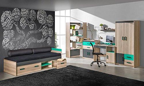 Jugendzimmer - Schreibtischaufsatz Marcel 17, Farbe: Esche Türkis / Grau / Braun - Abmessungen: 51 x 216 x 39 cm (H x B x T) - 4