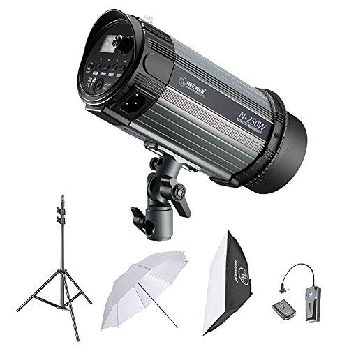 Neewer 250W Studioblitz Röhrenblitz Fotografie Beleuchtungs-Installationssatz: Monolicht, 6,5 Fuß Lichtständer, Softbox, RT-16 Funkauslöser-Set, 33...