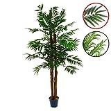 Künstlicher Areca-Baum Kokos-Palme Kunstpflanze Kunstbaum mit Echtholz-Stamm und Topf - Gesamthöhe 140 150 cm Größe wählbar