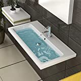 Keramik Waschbecken mit Überlauf Gäste WC Waschtisch Handwaschbecken 90 cm Breite