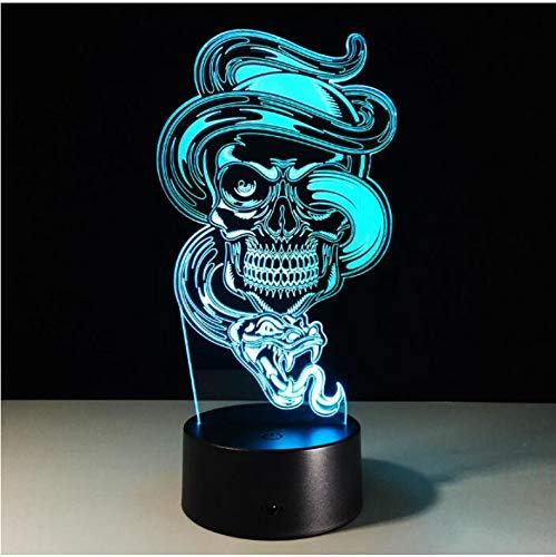 Multi Farben-Änderungs-USB-Gebühren-Geist 3D führte helle Nachtlampe für Feiertags-Halloween-Kindergeschenk (Ist Ein Halloween Feiertag)