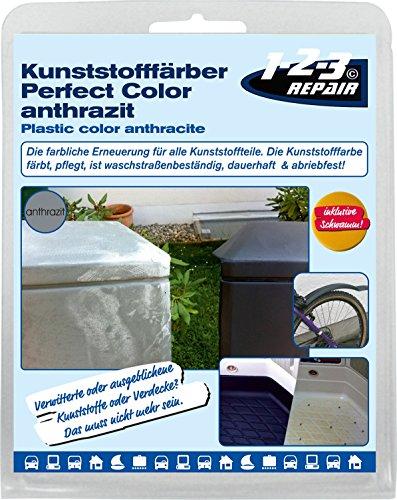123repair Perfect-Color Kunststoff Aufbereitung I Kunststofffarbe anthrazit mit Schwamm für...