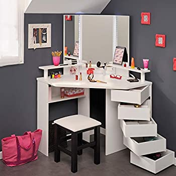 timeless design 9c24f 23fed Corner Dressing Table with Lights and Mirror, Happy Beds ...