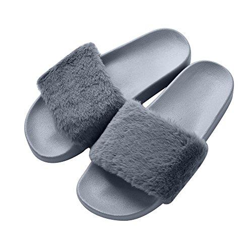 COFACE Damen Hausschuh Weiche Flache Sandalen Flauschige mit Süßer Plüsch Pantoffel Outdoor/Indoor in 5 Farben,Gray-37,Herstellergrösse 38