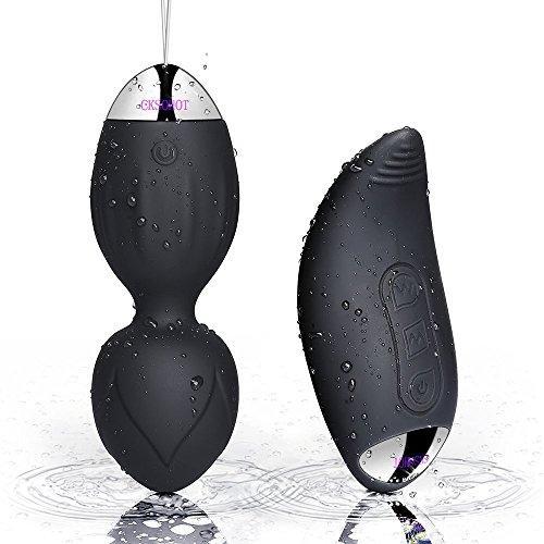 CKSOHOT Liebeskugeln Medizinisches Silikon Bullet Vibro Ei mit Fernbedienung wasserdicht leise Klitoris Vibrator mit stoßfunktion für Frauen(schwarz)