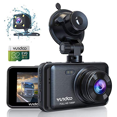 Dash Cam Front and Rear Dash Cam for Cars 1080P FHD 3'' IPS Screen Car Camera with Genuine 32GB SD Card 170°Wide Angle,G-Sensor,Loop Recording,Motion Detection