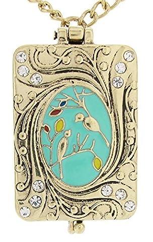 Daisyjewel Deluxe Chant Art nouveau vintage Médaillon Amour Bird Collier