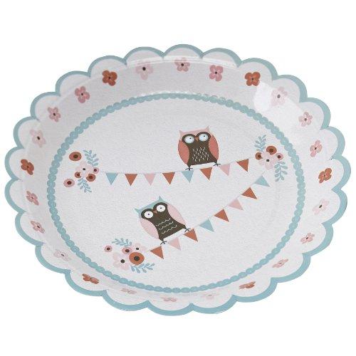 Ginger Ray Patchwork Eule Cupcake-Förmchen & Tortenaufsatz Dekorationsset gemischt Papierteller gemischt