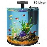 60Liter Half Moon Aquarium Komplett-Set Filter Leuchten Tropische Fische