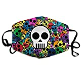 Vbnbvn Bocca Maschera,Antipolvere Maschera,Psychedelic Skulls Wallpaper Adult Creative Mouth-Masks Washable Safety 100% Polyester Comfortable Breathable Health Anti-Dust Half Face Masks