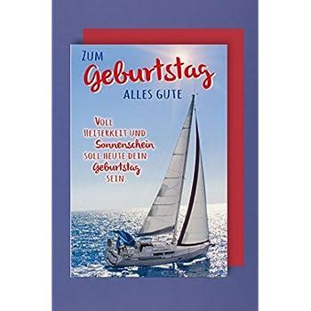 Segel Karte Geburtstag Grußkarte Meer Segler 16x11cm