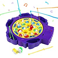 Symiu Fishing Game Musical Fish Toys Board Games for Kids Girls Boys 3 4 5 Year Olds with 6 Fishing Rods Rotating Board