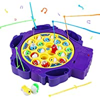 Symiu Peces Juguete Juego de Mesa Musical Juegos Educativoscon 6 Cañas de Pescar y 21 Mini Pescado para Niños 3 4 5 (2 Colores, Entrega aleatoria)