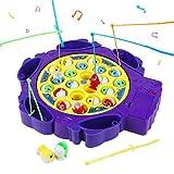 Symiu Juguete de Pesca Peces de Plastico Juego de Mesa Musical Juegos Educativoscon 6 Cañas de Pescar y 21 Mini Pescado para Niños 3 4 5 (2 Colores, Entrega aleatoria)