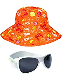 Baby Banz BabyBanz Orange Aquatic Hat and White Retro Sunglasses 0-5 Years