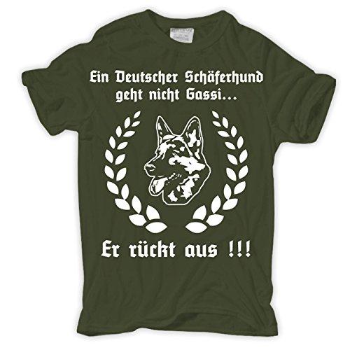 Männer und Herren T-Shirt Ein deutscher Schäferhund geht nicht Gassi... Olive