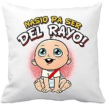 Cojín con relleno nacido para ser del Rayo Vallecano fútbol - Blanco, 35 x 35 cm