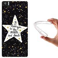 Funda Bq Aquaris M5, WoowCase [ Bq Aquaris M5 ] Funda Silicona Gel Flexible Estrellas Frase - I Love You To The Moon And Back, Carcasa Case TPU Silicona - Transparente