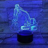 Fushoulu Bagger 7 Farbe Lampe 3D Visuelle Led-Nachtlichter Für Kinder Touch Usb TabelleBaby Schlafen Nachtlicht Bewegungslicht