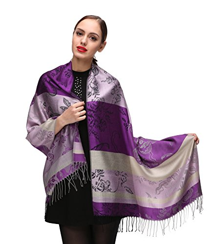Damen Schultertuch Stola - Eleganter Pashmina Schal mit floralem Muster in vielen Farben (One Size, Lila-c128)