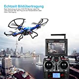 RC Quadrocopter Potensic Drohne mit 5.8GHz 6-Achsen-Gyro 2MP HD Karmera FPV Monitor Video Live Übertragung 3D Flip Funktion- Blau - 4
